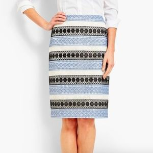 New Talbots Blue Crochet Lace Overlay Pencil Skirt